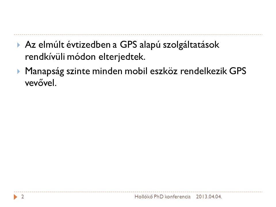 Manapság szinte minden mobil eszköz rendelkezik GPS vevővel.