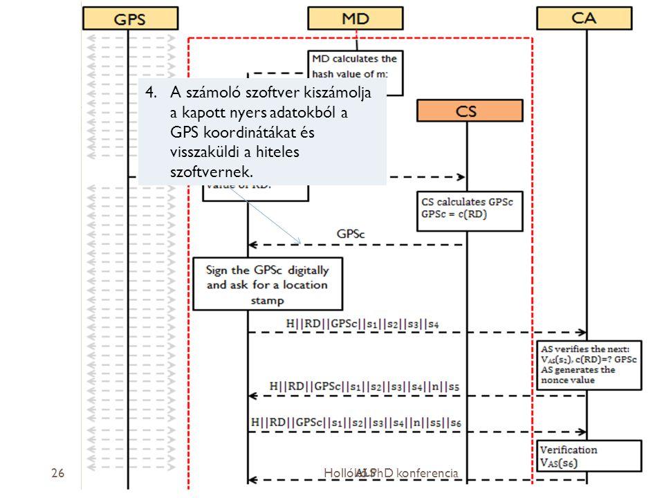 A számoló szoftver kiszámolja a kapott nyers adatokból a GPS koordinátákat és visszaküldi a hiteles szoftvernek.
