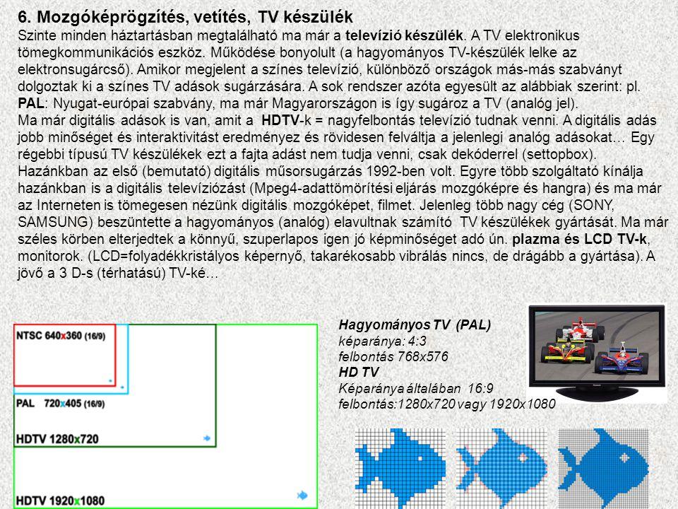 6. Mozgóképrögzítés, vetítés, TV készülék