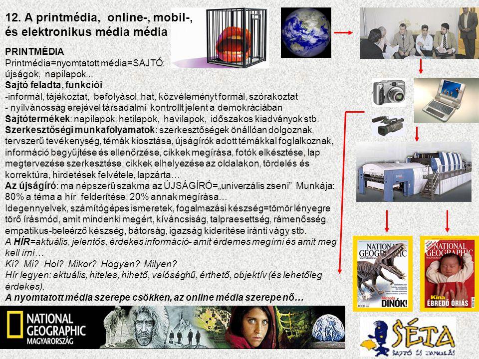 12. A printmédia, online-, mobil-, és elektronikus média média