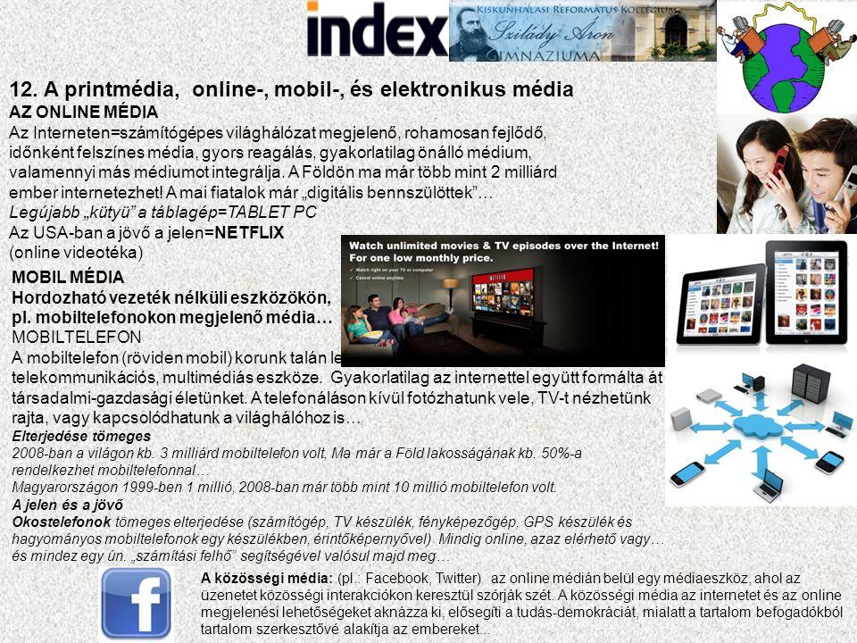 12. A printmédia, online-, mobil-, és elektronikus média