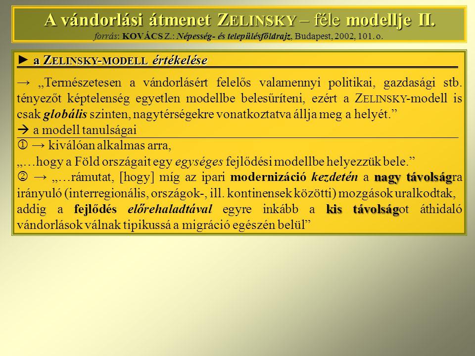 A vándorlási átmenet Zelinsky – féle modellje II. forrás: KOVÁCS Z