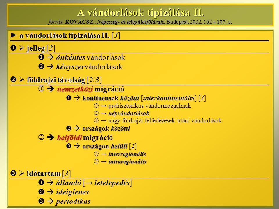A vándorlások tipizálása II. forrás: KOVÁCS Z