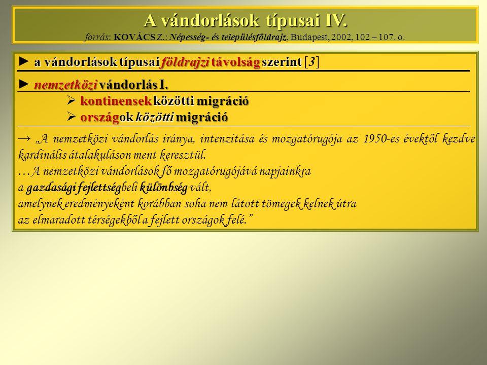 A vándorlások típusai IV. forrás: KOVÁCS Z