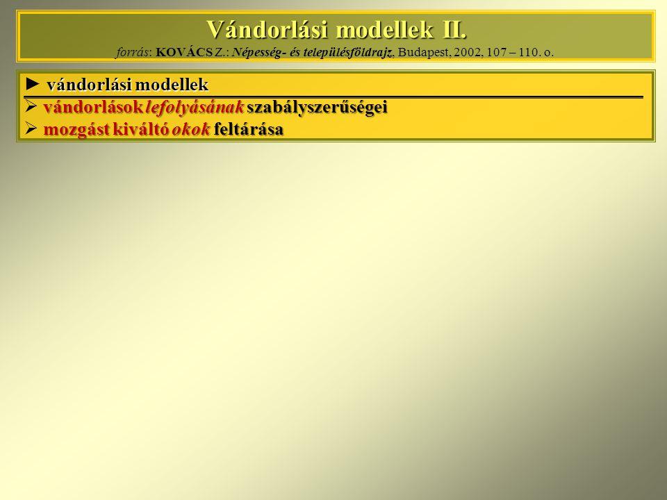 Vándorlási modellek II. forrás: KOVÁCS Z