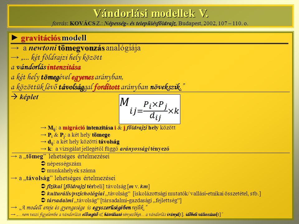 Vándorlási modellek V. forrás: KOVÁCS Z