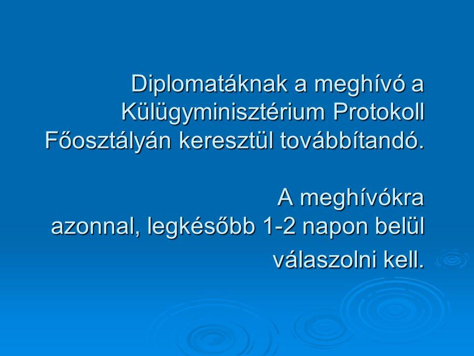 Diplomatáknak a meghívó a Külügyminisztérium Protokoll Főosztályán keresztül továbbítandó.