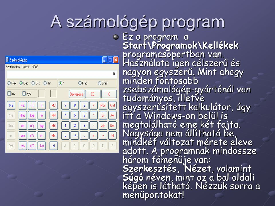A számológép program