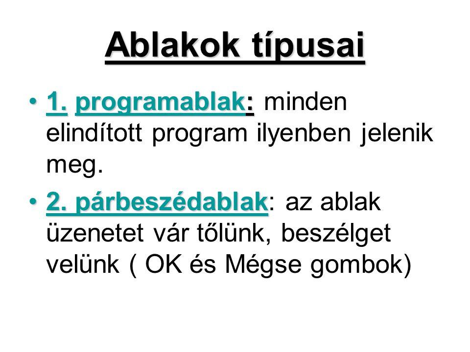Ablakok típusai 1. programablak: minden elindított program ilyenben jelenik meg.