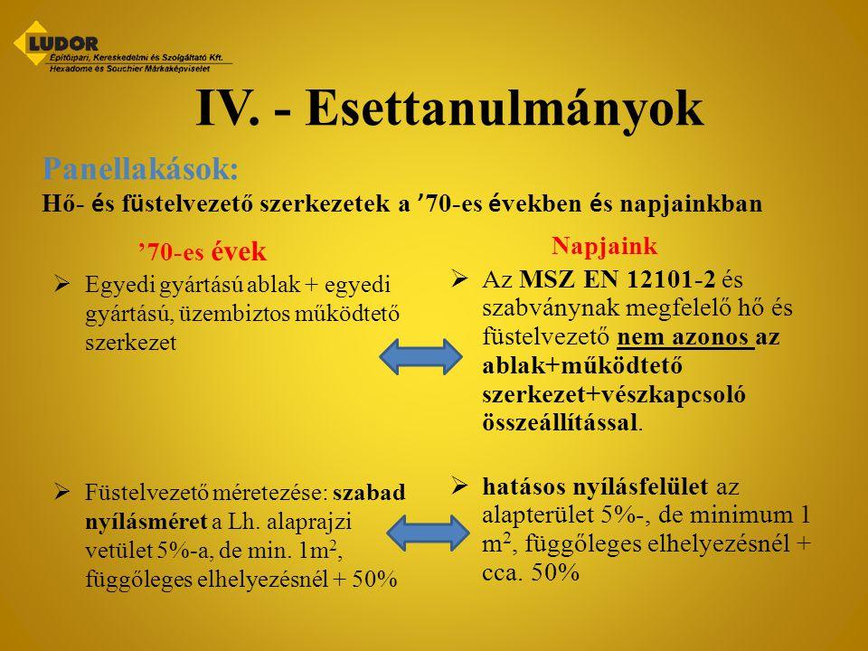 IV. - Esettanulmányok Panellakások:
