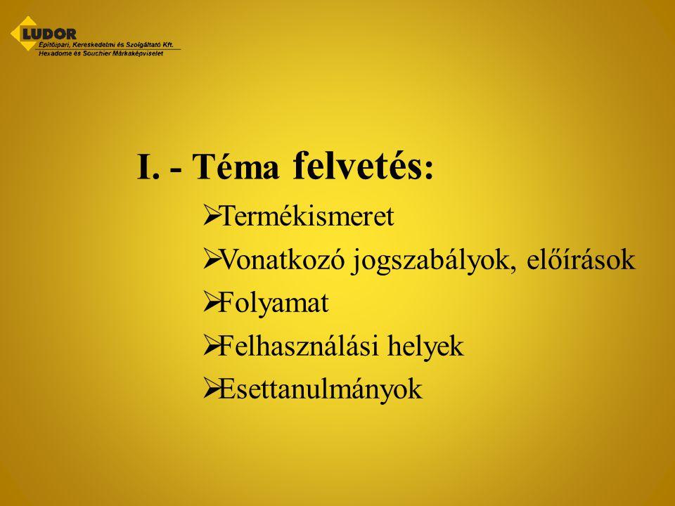 I. - Téma felvetés: Termékismeret Vonatkozó jogszabályok, előírások
