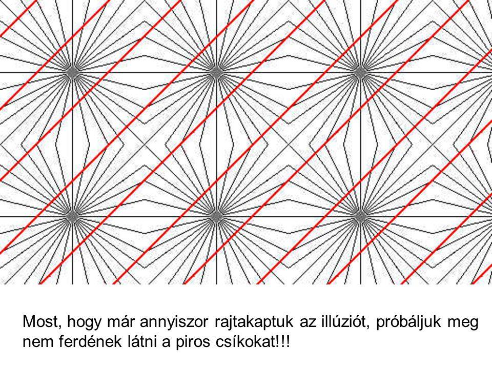 Most, hogy már annyiszor rajtakaptuk az illúziót, próbáljuk meg nem ferdének látni a piros csíkokat!!!