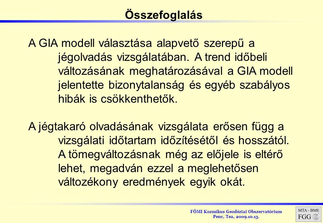 Összefoglalás A GIA modell választása alapvető szerepű a. jégolvadás vizsgálatában. A trend időbeli.