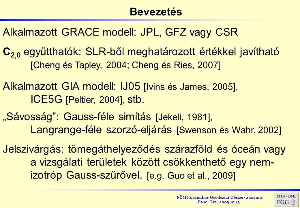 Alkalmazott GRACE modell: JPL, GFZ vagy CSR