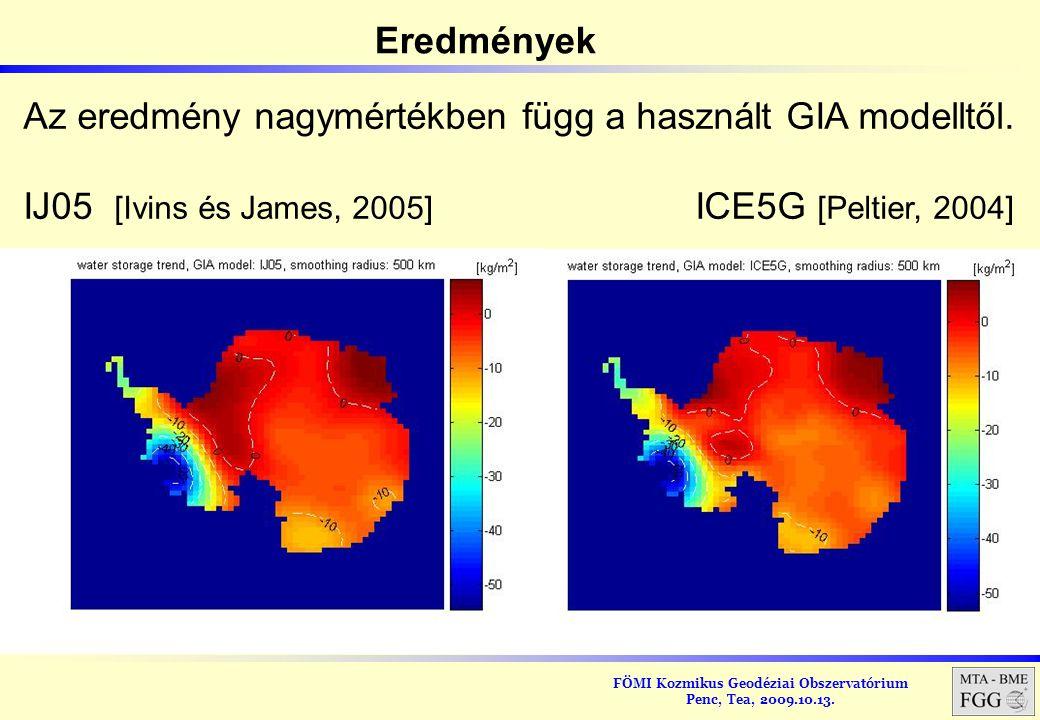 Eredmények Az eredmény nagymértékben függ a használt GIA modelltől.
