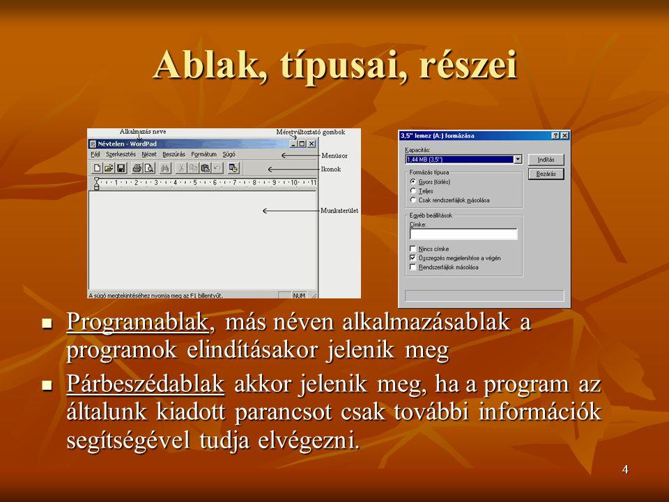 Ablak, típusai, részei Programablak, más néven alkalmazásablak a programok elindításakor jelenik meg.