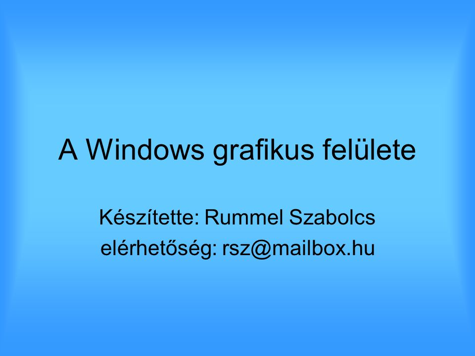 A Windows grafikus felülete