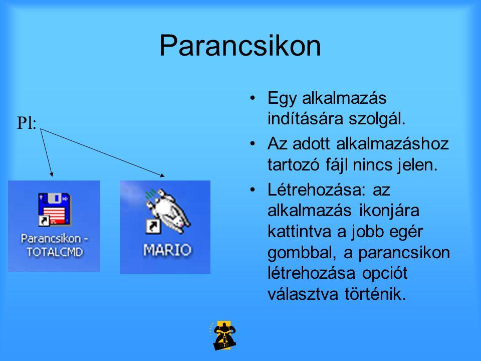 Parancsikon Pl: Egy alkalmazás indítására szolgál.