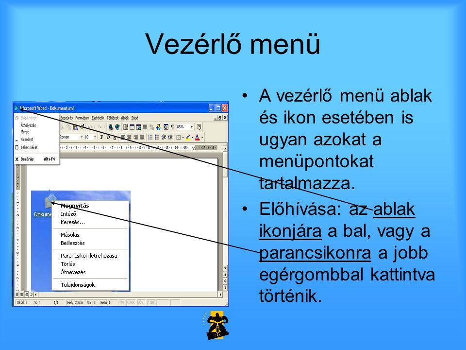Vezérlő menü A vezérlő menü ablak és ikon esetében is ugyan azokat a menüpontokat tartalmazza.