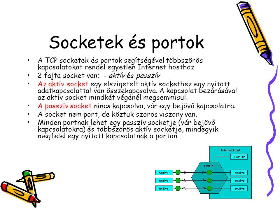 Socketek és portok A TCP socketek és portok segítségével többszörös kapcsolatokat rendel egyetlen Internet hosthoz.