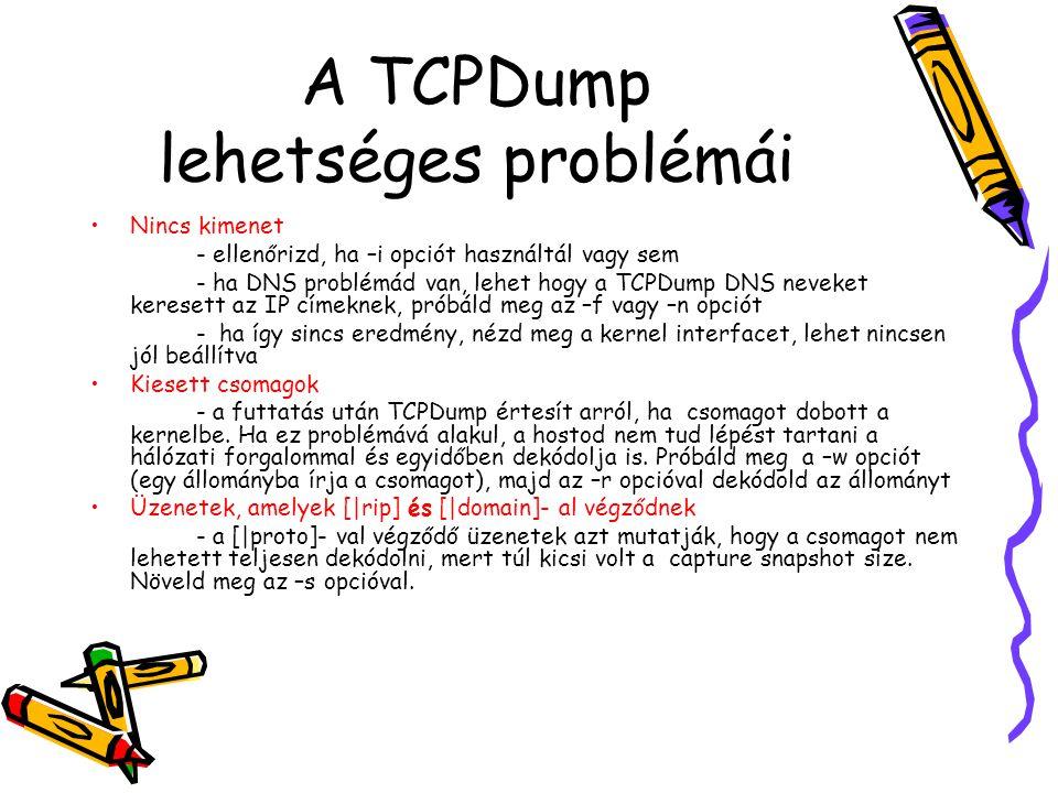 A TCPDump lehetséges problémái