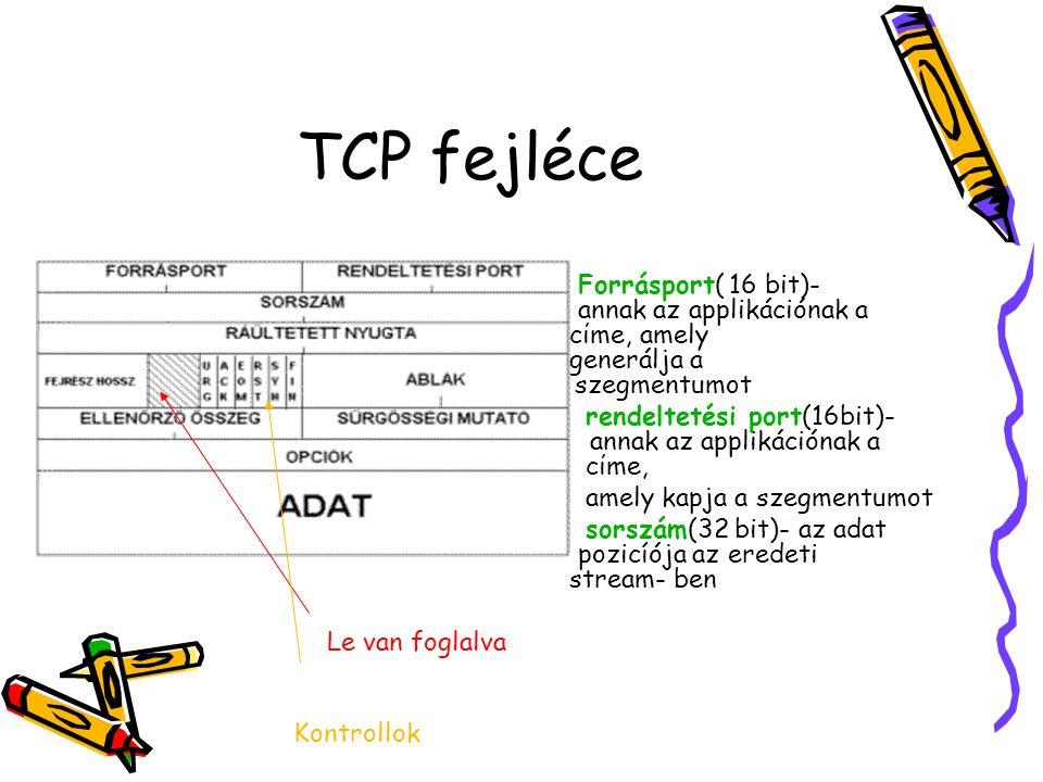 TCP fejléce Forrásport( 16 bit)- annak az applikációnak a cίme, amely generálja a szegmentumot.