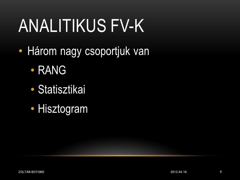 Analitikus fv-k Három nagy csoportjuk van RANG Statisztikai Hisztogram