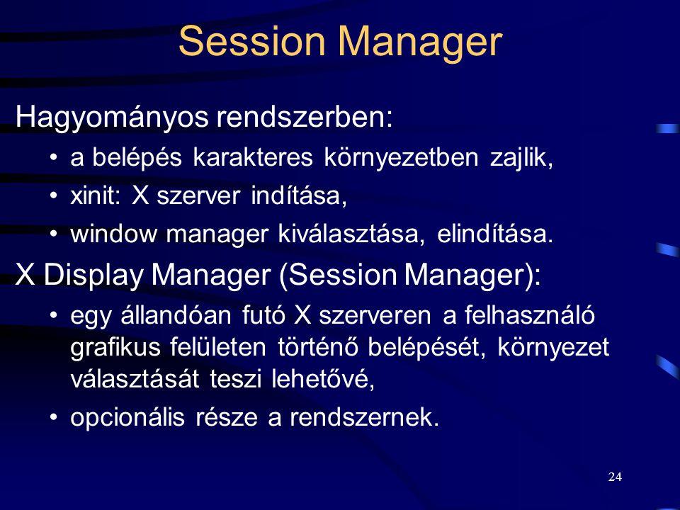 Session Manager Hagyományos rendszerben:
