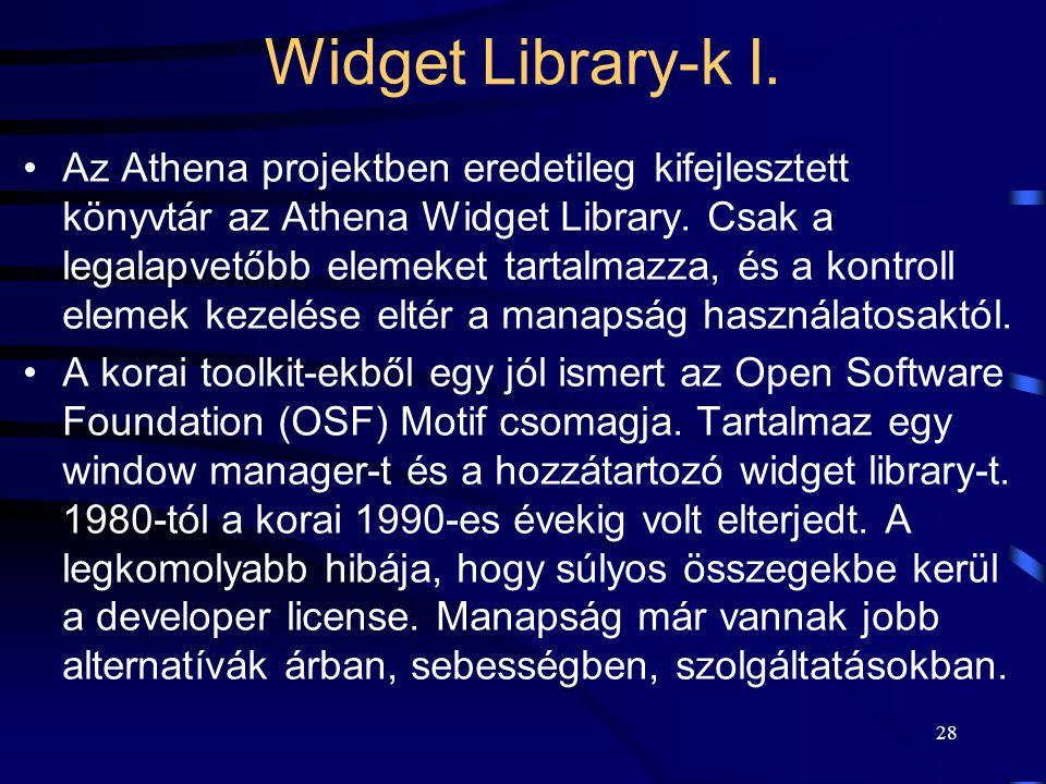 Widget Library-k I.