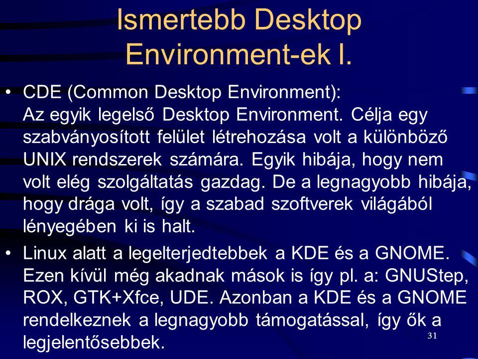 Ismertebb Desktop Environment-ek I.