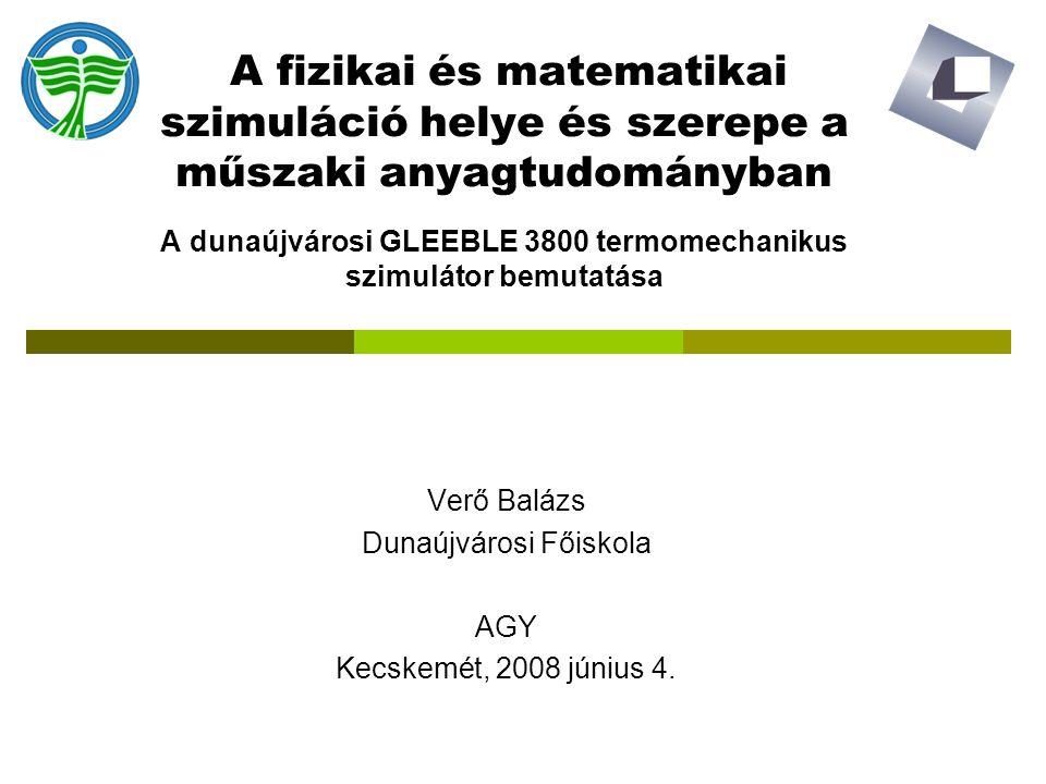Verő Balázs Dunaújvárosi Főiskola AGY Kecskemét, 2008 június 4.