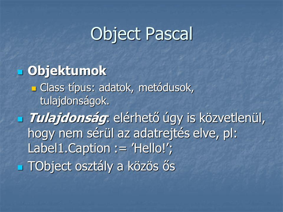 Object Pascal Objektumok