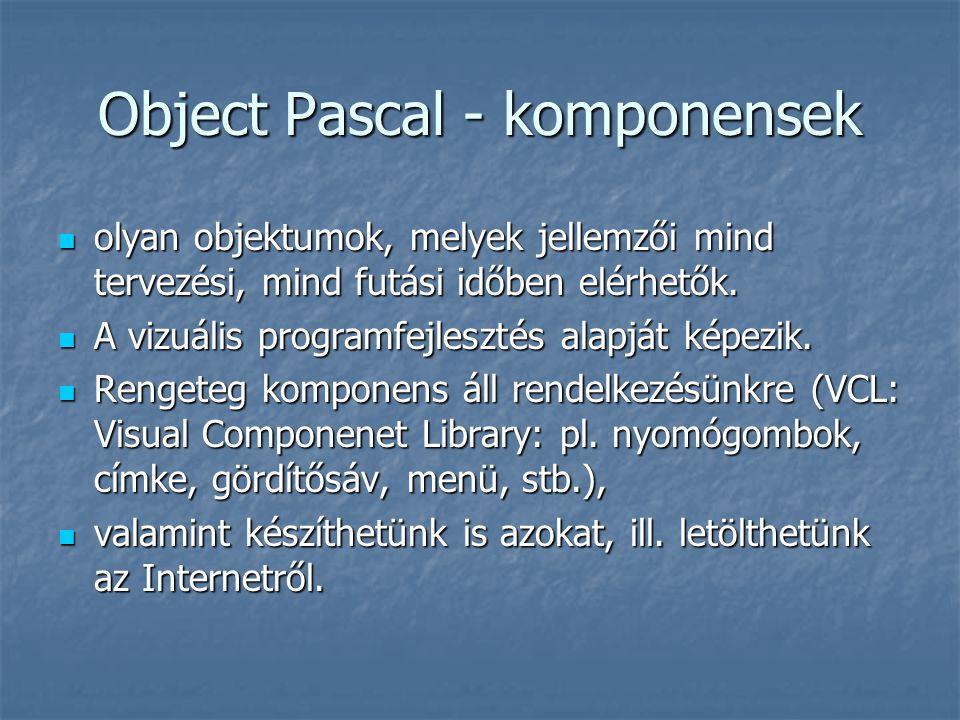 Object Pascal - komponensek