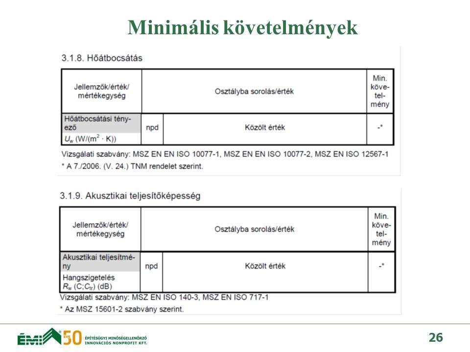 Minimális követelmények
