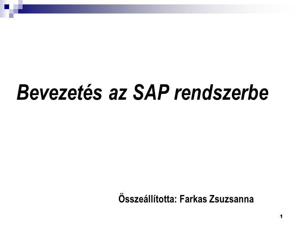 Bevezetés az SAP rendszerbe