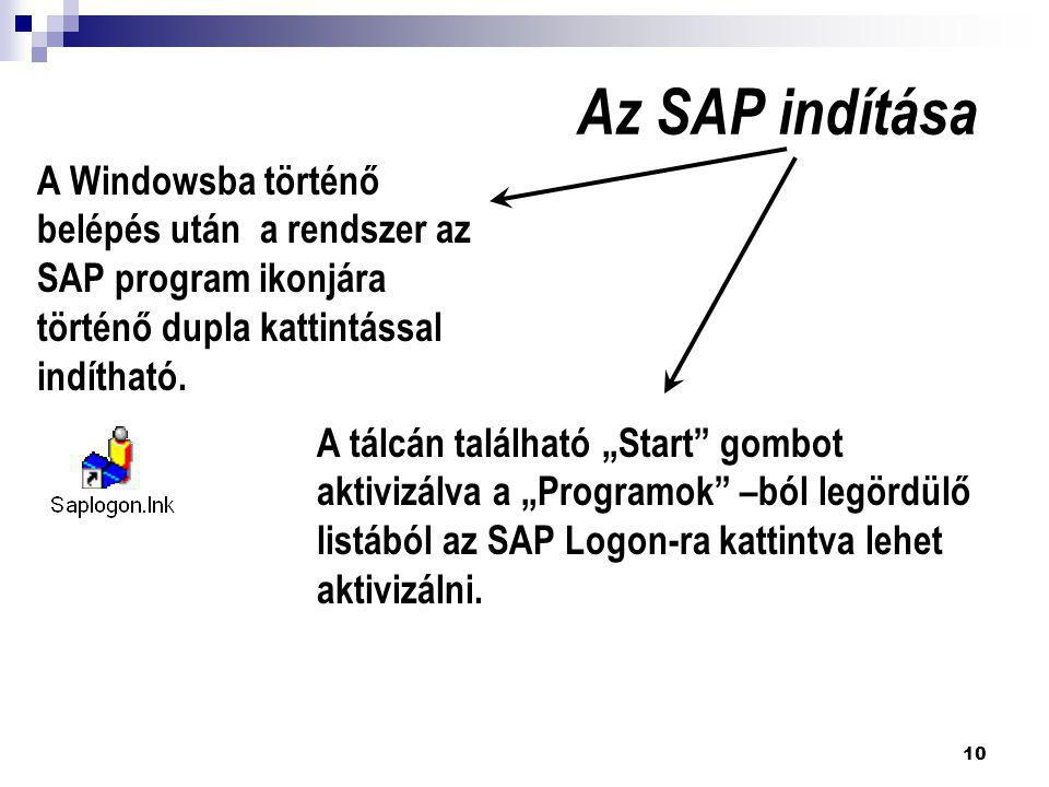 Az SAP indítása A Windowsba történő belépés után a rendszer az SAP program ikonjára történő dupla kattintással indítható.