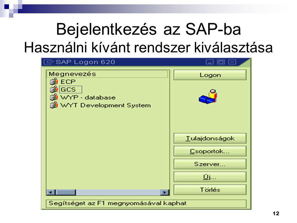 Bejelentkezés az SAP-ba Használni kívánt rendszer kiválasztása