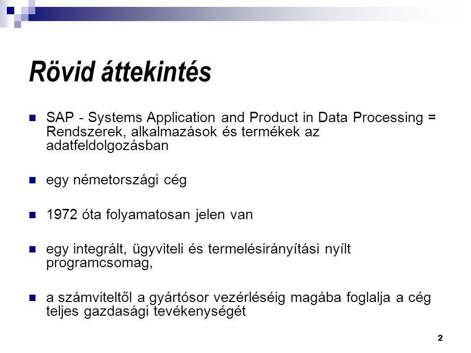 Rövid áttekintés SAP - Systems Application and Product in Data Processing = Rendszerek, alkalmazások és termékek az adatfeldolgozásban.