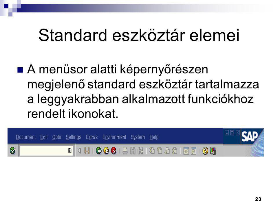 Standard eszköztár elemei
