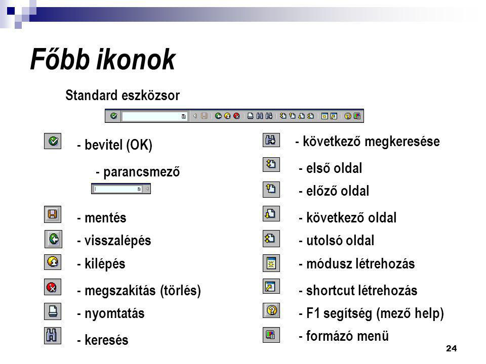Főbb ikonok Standard eszközsor - következő megkeresése - bevitel (OK)