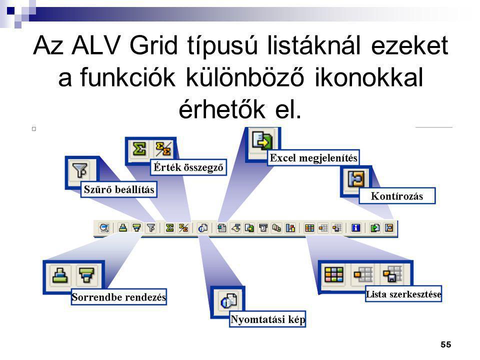 Az ALV Grid típusú listáknál ezeket a funkciók különböző ikonokkal érhetők el.