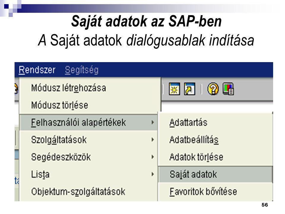 Saját adatok az SAP-ben A Saját adatok dialógusablak indítása