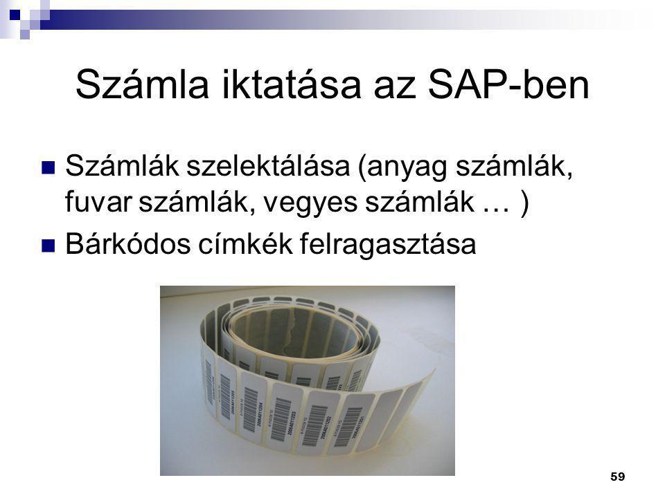 Számla iktatása az SAP-ben