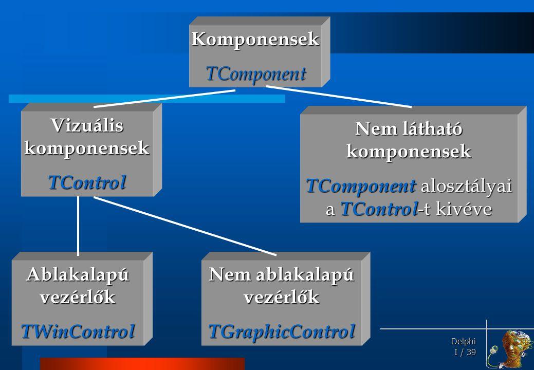 Standard komponensek TObject TComponent TControl TLabel TWinControl TButton TEdit TMemo.