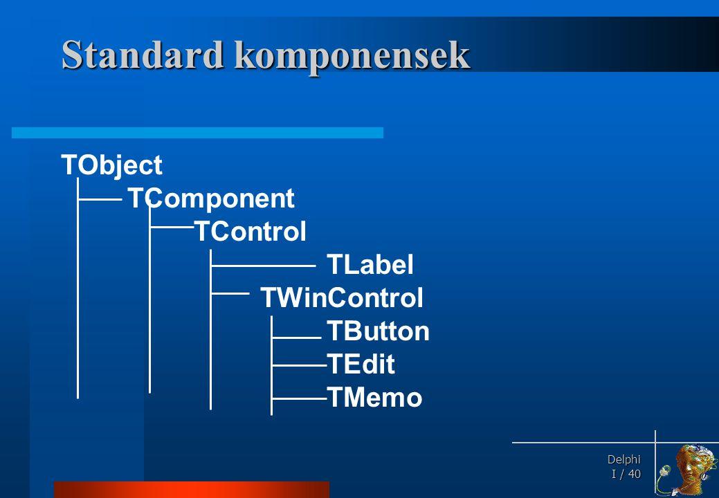 Standard komponensek Innen származó tulajdonságok: TComponent: