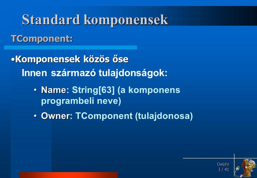 Standard komponensek TControl a látható komponensek absztrakt osztálya