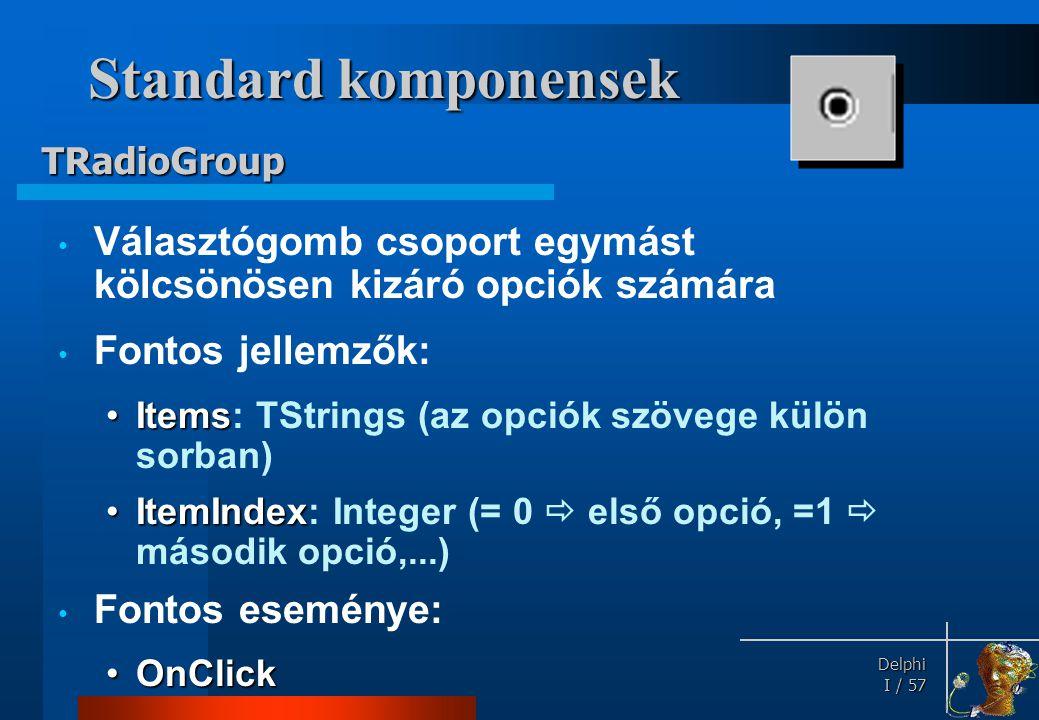 Standard komponensek TListBox