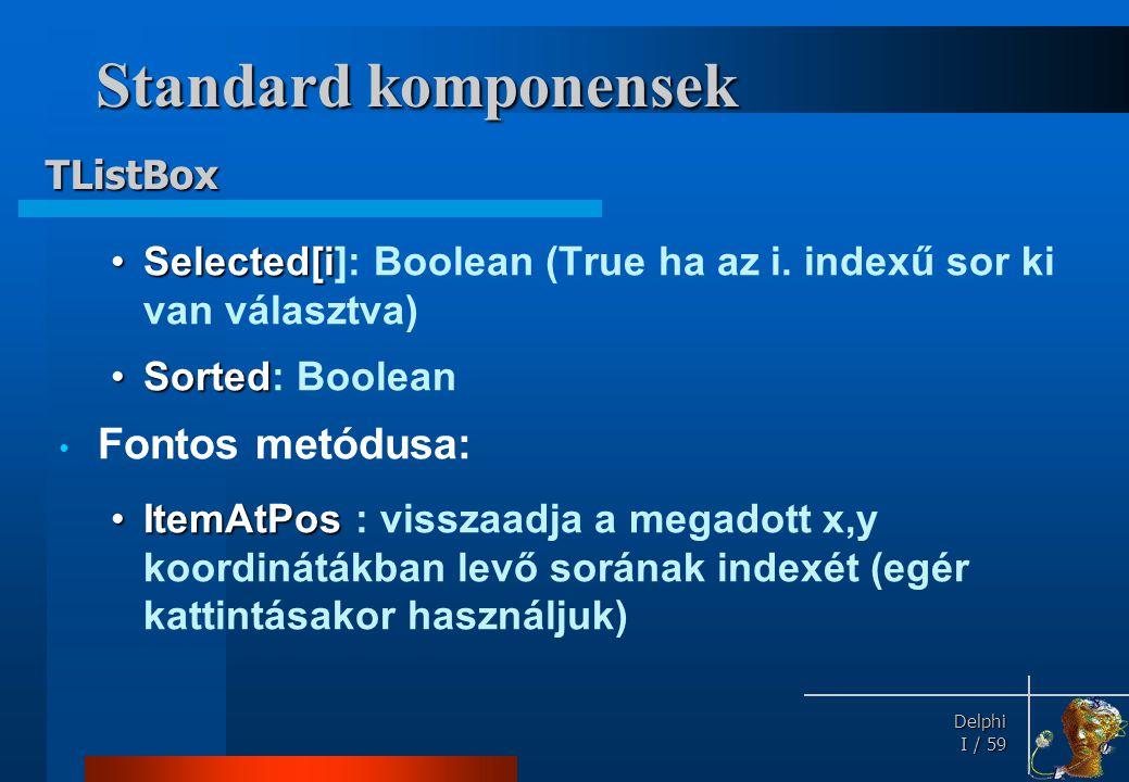 Standard komponensek TComboBox