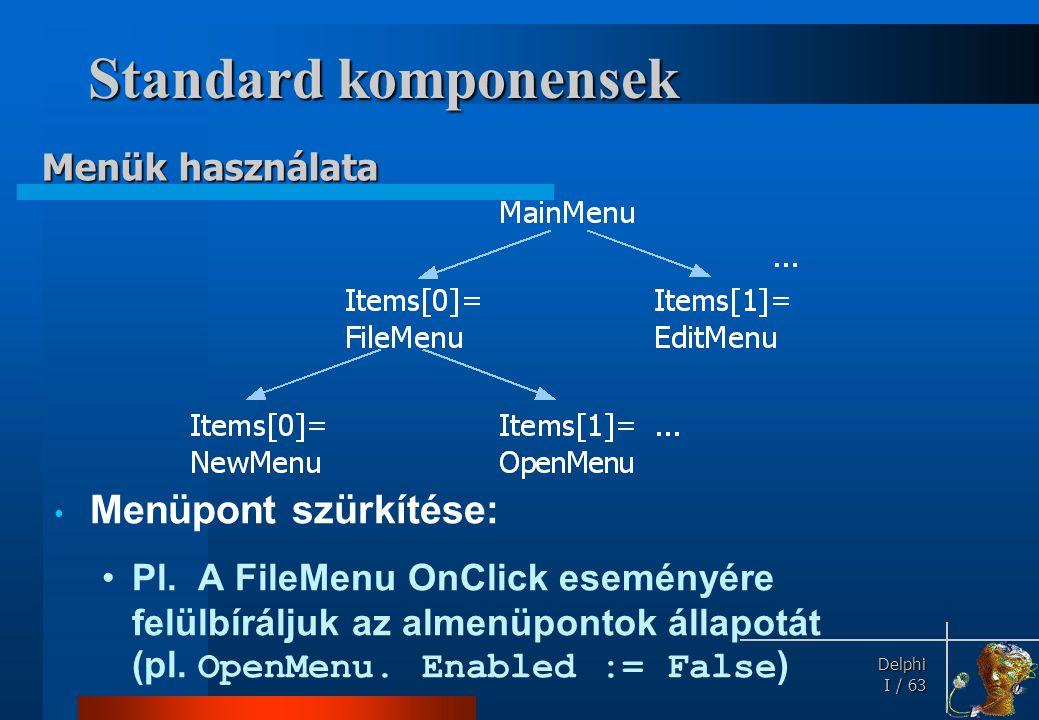 Standard komponensek TMenuItem