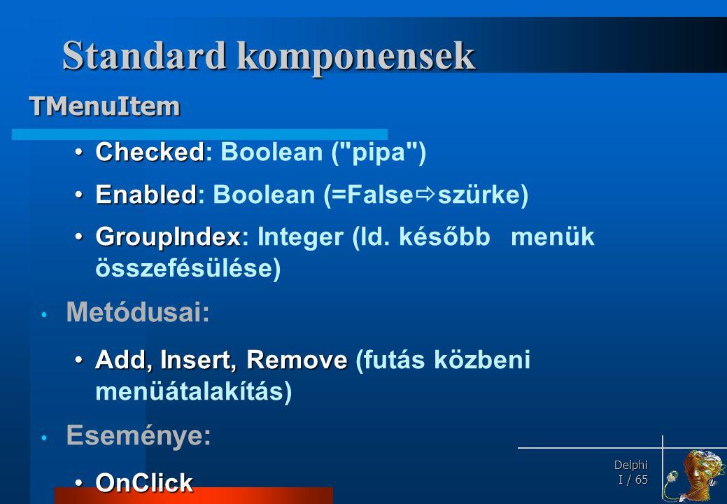 Standard komponensek TPopupMenu